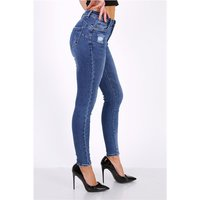 Damen Skinny Stretch Jeans Röhrenjeans Used-Look...