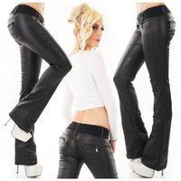 Womens bootcut jeans in leather look with belt black