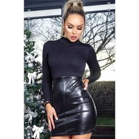 Sexy long-sleeved bodycon minidress with faux leather black