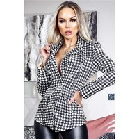 Womens houndstooth blazer jacket with buttons black/white