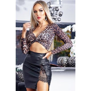 Cropped womens twisted knot top long-sleeved leopard