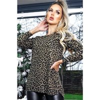 Womens oversize jumper with animal print leopard khaki/black