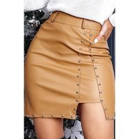 Sexy skinny womens faux leather miniskirt with rivets camel