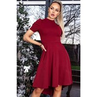 Elegant puff-sleeved high low skater dress wine-red