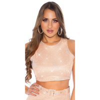 Sexy womens party crop top with glitter antique pink