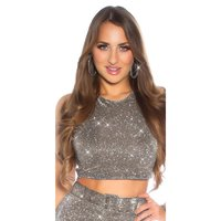 Sexy womens party crop top with glitter anthracite