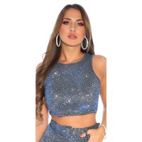 Sexy Glamour Party Crop-Top mit Glitzer Blau