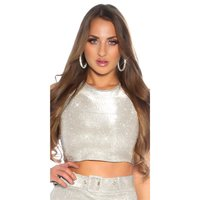 Sexy Glamour Party Crop-Top mit Glitzer Silber