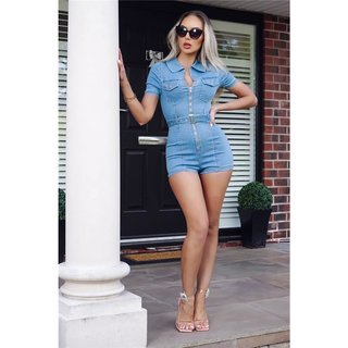 Sexy womens stretch jeans playsuit with zip front light blue