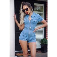 Sexy Damen Hotpants Overall Stretch Jeans Playsuit Hellblau