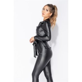 Womens long-sleeved jumpsuit leather look with belt black