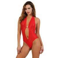Sexy womens halterneck body/teddy made of mesh red