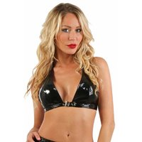 Sexy womens gogo halterneck top in latex look vinyl black