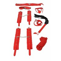 8 pcs bondage set made of imitation leather with plush red
