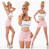 Sexy womens stretch jeans shorts hot pants with turn-up pink