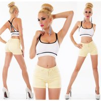 Sexy womens stretch jeans shorts hot pants with turn-up...