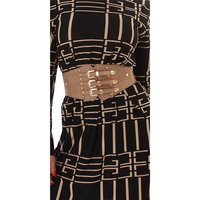 Womens stretch waist belt buckskin look light brown