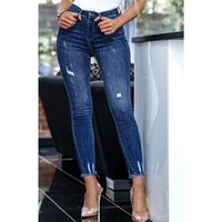 Womens destroyed skinny stretch jeans frayed hem dark blue