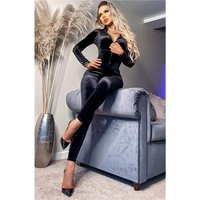 Edler Damen Party Langarm Overall aus Samt mit Zipper...