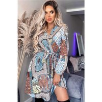 Womens mini dress with wrap front and print multicolour