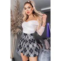Sexy A-line pleated mini skirt with checked pattern black