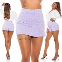 Short womens skort with checked pattern lilac/white