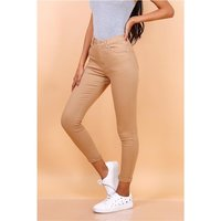 Skinny womens drainpipe jeans in 5-pocket style taupe