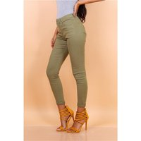 Skinny womens drainpipe jeans in 5-pocket style khaki