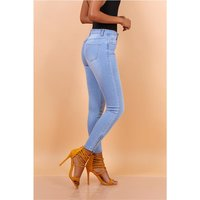 Womens stretch skinny jeans with zip at ankle light blue