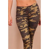 Skinny womens jeans in army look camouflage olive-green