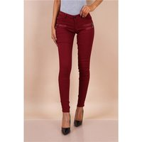 Sexy skinny womens jeans with zips wine-red