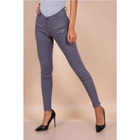 Sexy skinny womens jeans with zips grey