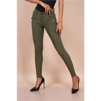 Sexy skinny womens jeans with zips khaki