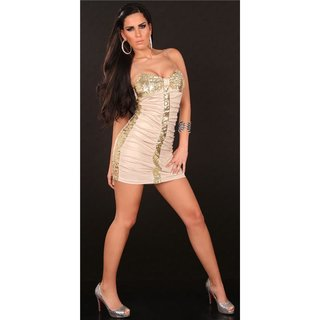 SEXY MINIDRESS PARTY DRESS WITH SEQUINS WET LOOK BEIGE