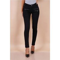 Sexy skinny womens jeans with zips black