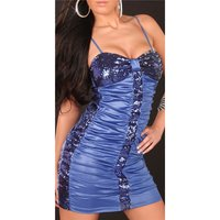 Sexy mini dress party dress with sequins wet look blue