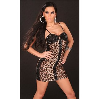 Sexy mini dress party dress with sequins wet look leopard/black