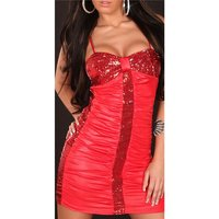 SEXY MINIDRESS PARTY DRESS WITH SEQUINS WET LOOK RED