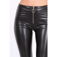 Sexy womens faux leather leggings with zipper black