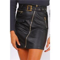 Sexy faux leather skirt with zips incl. belt black