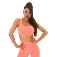 Womens cropped rib-knit sport tanktop neon-orange