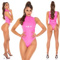 Sexy Vinyl Body Latex-Look Gogo Clubwear Neon Pink