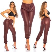 Trendy womens faux leather trackies joggers wine-red