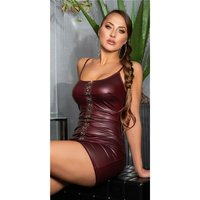 Sexy strappy clubwear mini dress in wet look wine-red