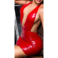 Kurzes Vinyl Bodycon Minikleid in Latex-Look Clubwear Rot