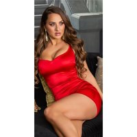 Sexy Damen Bodycon Satin Kleid Minikleid Rot