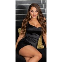 Sexy womens bodycon satin dress mini dress black