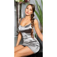 Sexy womens bodycon satin dress mini dress silver