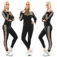 Womens loungewear set jogging outfit leopard black/beige