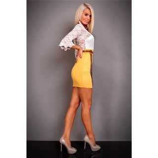 Precious evening dress with lace belt white/yellow